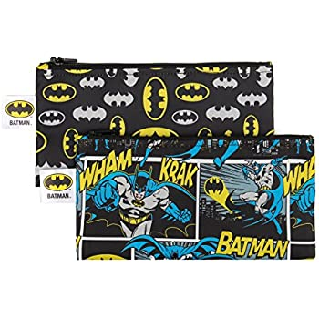 Bumkins DC Comics Reusable Snack Bag Small 2 Pack, Batman