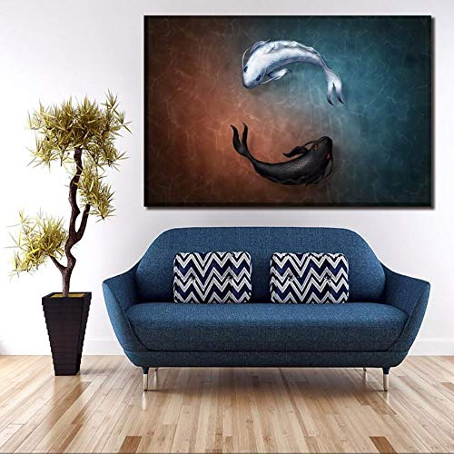 Wadyx Canvas Poster Home Decor Hd Prints 1 Piece Yin and Yang Fish Symbol Painting Wall Art Pictures for Living Room No Frame 60Cmx90Cmx1Pcs