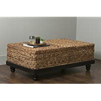 East at Main Arbor Brown Abaca Textured Coffee Table, (47x30x18)