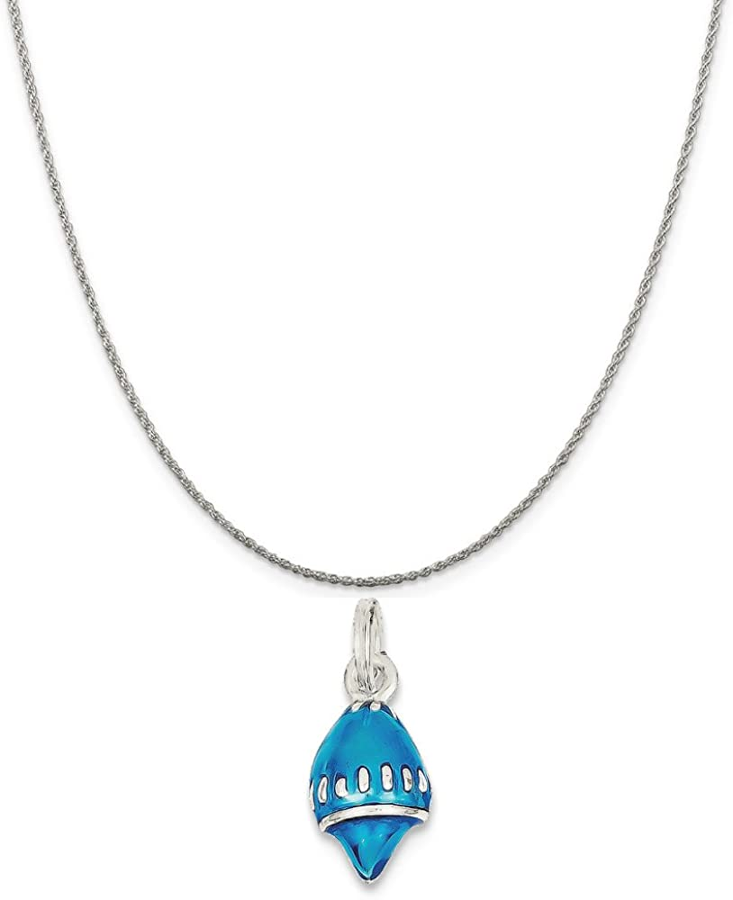 16-20 Mireval Sterling Silver Enameled Blue Shell Charm on a Sterling Silver Chain Necklace