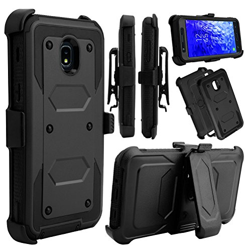 Galaxy J7 2018 Case, Galaxy J7 Star, Galaxy J7 Crown, Galaxy J7 Refine Case, Venoro Full Body Protection Case Cover with Swivel Belt Clip and Kickstand for Samsung Galaxy J7 Aura (Black)