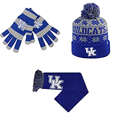 NCAA Kentucky Wildcats Glove Stripe Knit Subartic Beanie Hat And Team Logo Scarf 3 Pack Bundle