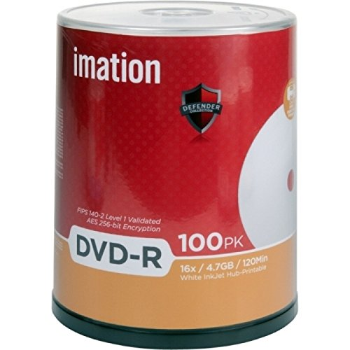Imation DVD-R 4.7GB 16X White Thermal Hub Printable 100pk Cake Box 29909