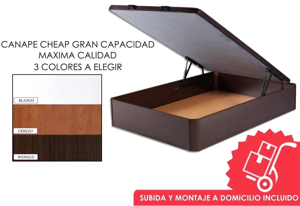 MICAMAMELLAMA Canapé abatible Madera de Gran Capacidad con Base Tapizada 3D Transpirable - Montaje Incluido (Wengue, 135x190): Amazon.es: Hogar