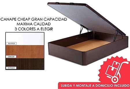 MICAMAMELLAMA Canapé abatible Madera de Gran Capacidad con Base Tapizada 3D Transpirable - Montaje Incluido (Blanco, 135x190): Amazon.es: Hogar