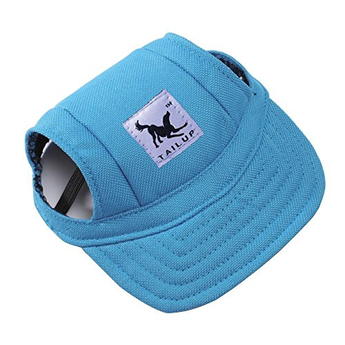 Dog Hat Pet Baseball Cap/ Dogs Sport Hat / Visor Cap with Ear Holes and Chin Strap for Small Dogs (Size S, Blue) By Happy Hours - Puppy Cap