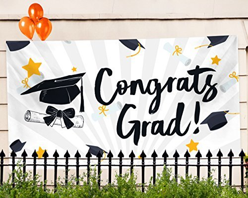 "College Graduation Party Invitations - Graduation Party Banner – Extra Large 71"" x 40"" - 2018 Congrats Grad Decorations & Supplies - Graduate Cap Design"