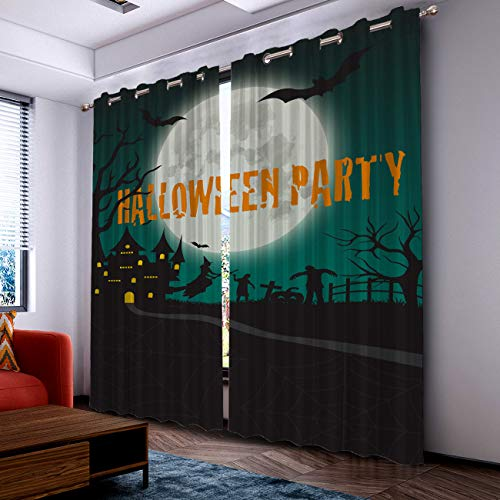 Prime Leader Curtains for Living Room- Darkening Thermal Insulated Window Treatment Curtains, with Grommet Home Decor Dark Castle Moon Halloween Party (2 Panels, 52 x 84 Inch Each Panel) ()