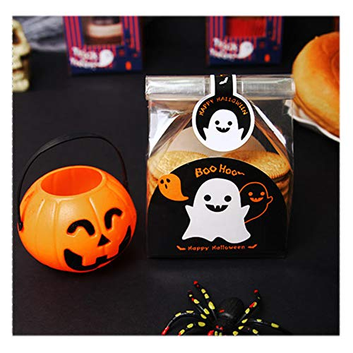 80Pcs Halloween Monster Treat Gift Bags with 80 Pcs Pumpkin Sealing Strip with 1 pcs Boxes Candy Ghost Treat Boxes for Cookie, Candy, Chocolate Biscuit Roasting DIY Gift Favor Bags by JIOMUK ()