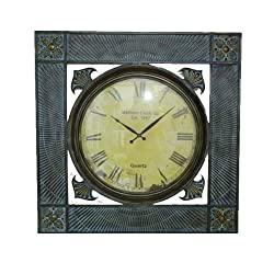 Essential Décor Entrada Collection Metal Wall Clock, 36 by 36 by 3.5-Inch