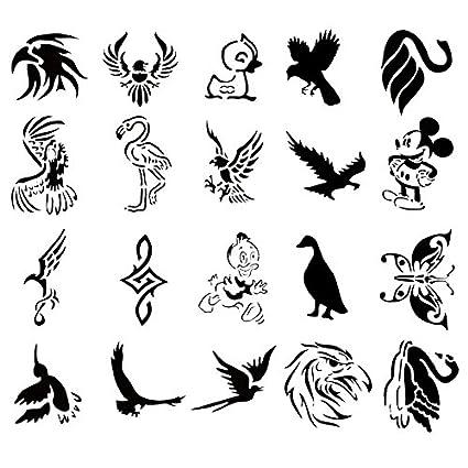Amazon.com: Airbrush Tattoo Stencil Set 52 Book of 20 Bird Templates