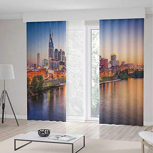 ALUONI Blackout Curtains for Bedroom TT02 United States for Bedroom Living Dining Room Kids Youth Room Cumberland River Nashville Tennessee Evening Architecture 2 Panel Set 157W x 94LInches