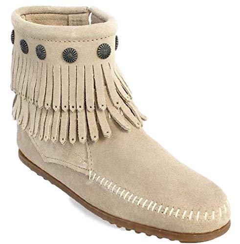 - Minnetonka Women's Double Fringe Side Zip Boot Stone Suede 6.5 M
