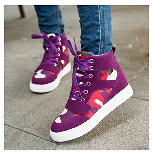 CYBLING Casual Women Anti-slip Lace Up Wedge Sneakers Platform Hidden Heels Shoes