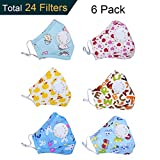Dodoshop 6Pack Anti Allergy Dust Mask for Kids,Comfort Cotton Kid's Dustproof Mouth Mask with Adjustable Straps for Outdoor Indoor (Total 24pcs filters)