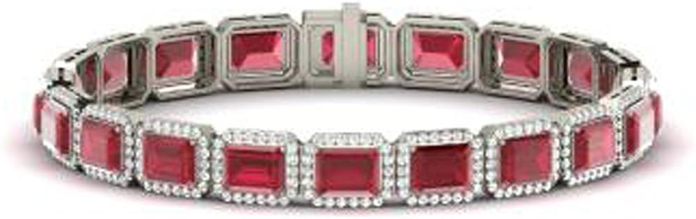 Silvernshine Jewels 16.1 CT Esmeralda y Ronda Pulseras de Tenis de Diamantes Ruby y Sim en Oro Blanco de 14 Quilates Fn