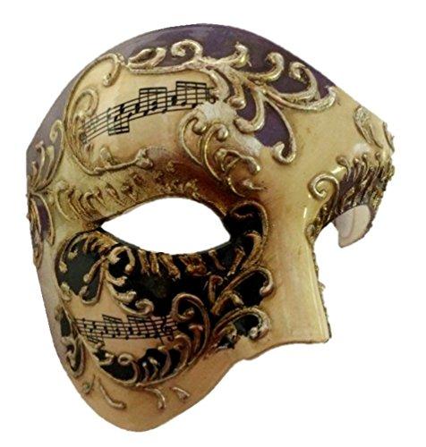 Venetian Phantom Half Costume Mask Adult Men Women Musical Notes Opera Purple