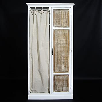 Schrank mit Vorhang 1 Holztür – weiß: Amazon.de: Küche & Haushalt