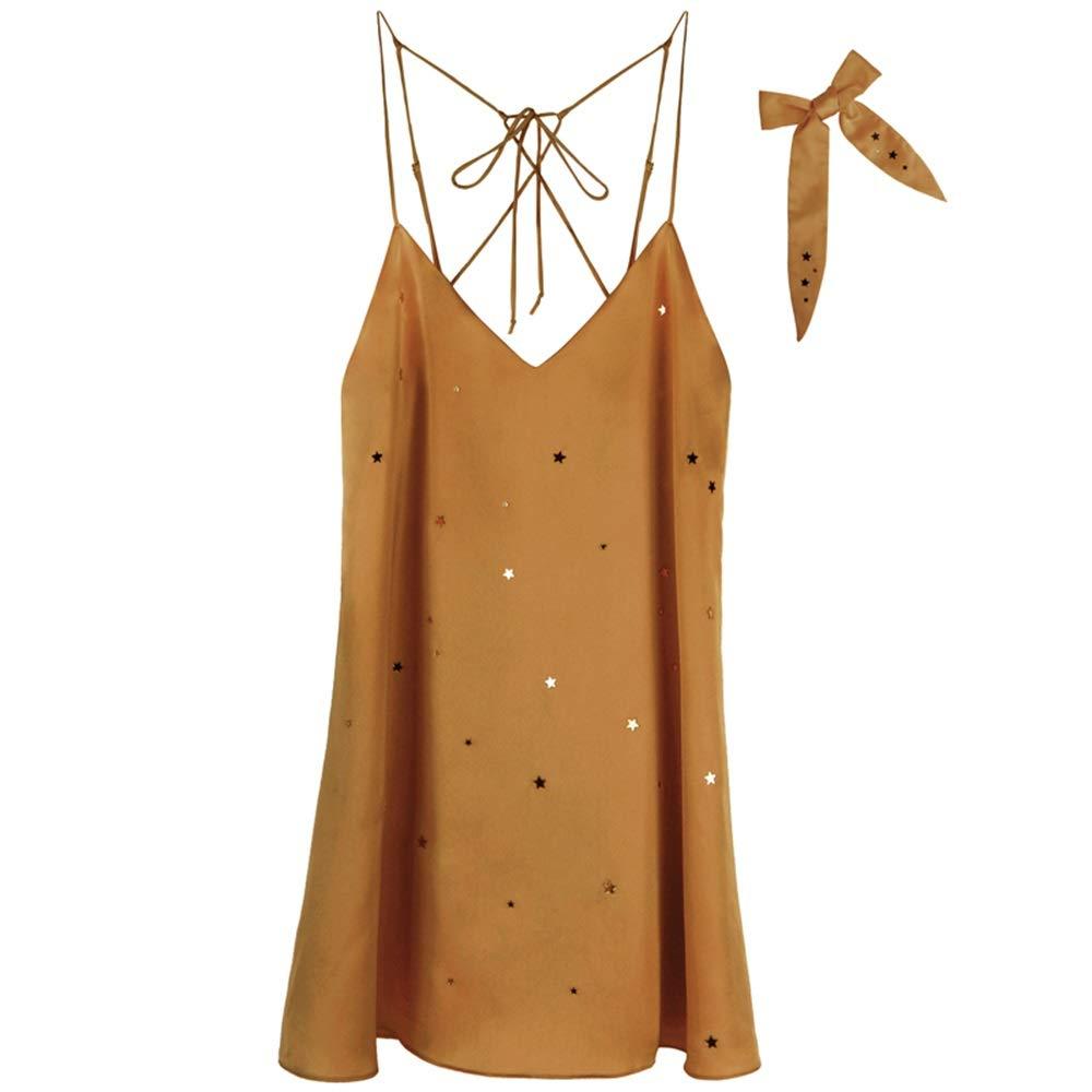 Metallic Bathrobes Polyester Four Seasons Sling Nightdress Women's Bathrobe Home Service (color   Metallic, Size   S)