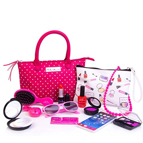 Pixie Girl Presents (PixieCrush Deluxe Pretend Play Kid Purse Set for Girls with Handbag, Pretend Smart Phone, Keys, Pretend Makeup, Lipstick - Interactive & Educational Toy (Pink Polka)