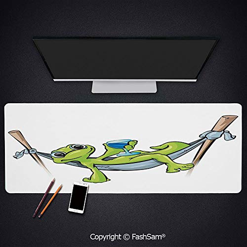 Extended Large Mouse Pad Bohemian Frog Prince On Hammock with Wine Little Mascot Relax Peace in Garden Decorative Keyboard Pad for - Desk Mascot Pad