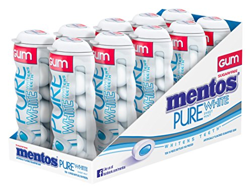 Mentos Gum Pocket Bottle, Pure White Sweet Mint, Stocking Stuffer, Gift, Holiday, Christmas, 1.06 Ounce (Pack of 10)