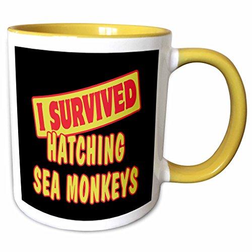 3dRose Dooni Designs Survive Sayings - I Survived Hatching Sea Monkeys Survial Pride And Humor Design - 15oz Two-Tone Yellow Mug (mug_117997_13)