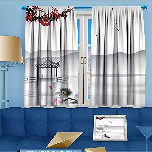 Mikihome 2 Panel Curtains Asian Style Garden Bird Small Pavilion Over The Linen Window Curtains Grommet Top 72