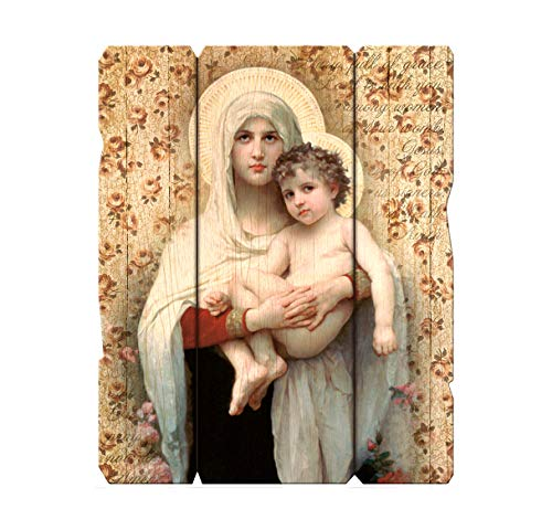 Laser Cut Wood Madonna of The Roses Icon Wall Plaque, 9 1/4 Inch