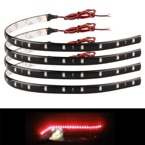 4 STRISCE ADESIVE 15 LED FLESSIBILE IMPERMEABILE 30CM ROSSO