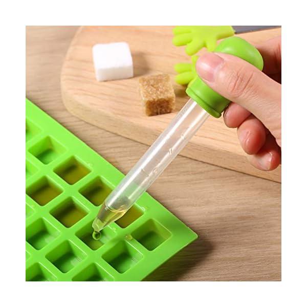 BBTO 2 Pezzi 126-Cavità Stampo Quadrato in Silicone Mini Stampi per Caramelle Vaschetta del Ghiaccio con Clip Contagocce… 4 spesavip