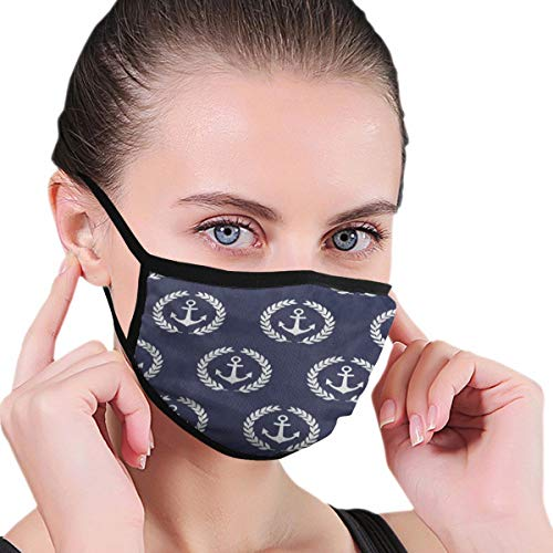 Funny Mouth Cover Dustproof Washable Reusable Navy Anchor Blue Designer Respirator Protective Safety Warm Windproof for Women Men