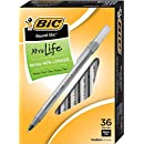 BIC Round Stic Xtra Life Ball Pen, Medium Point (1.0 mm), Black, 36-Count