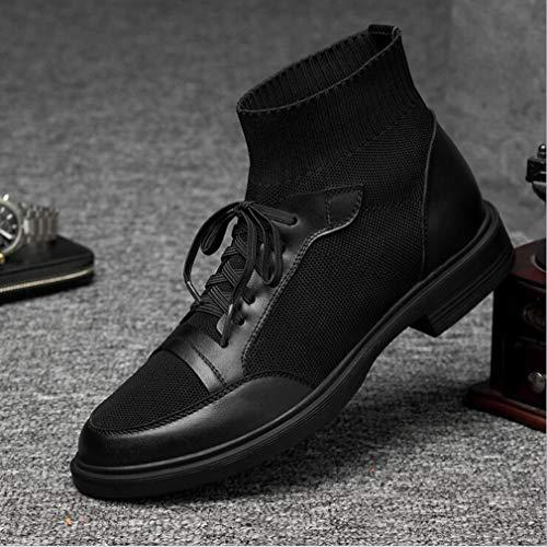 Hy 42 Mens Shoes ons E 2019 Spring Casual New Mocassini Nero Socks Dimensione Nero Driving Elastic Shoes colore Slip TTrdPq