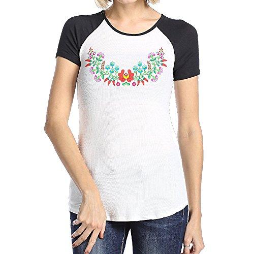 Attractive Women Floral Paprika Flowers Dress Plain Raglan T Shirt Short Sleeve