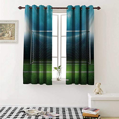 shenglv Soccer Customized Curtains Soccer Goal Post Sports Area Winner Loser Line Floodlit Best Team Finals Game Theme Curtains for Kitchen Windows W63 x L45 Inch Green Blue