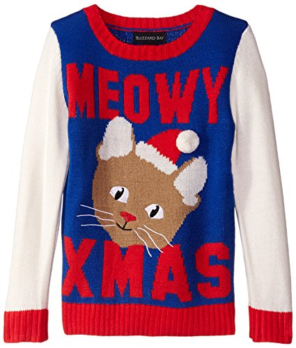 Blizzard Bay Little Girls' Meowy Xmas Kitty Christmas Sweater, Blue/Red/White, 4 (Kids Ugly Christmas Sweater)