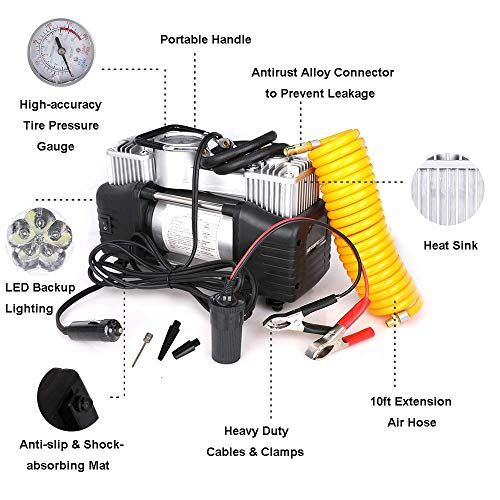12V Tire Inflator - Dual Cylinder Air Compressor Pump, Heavy Duty Portable Air Pump 150PSI with 3M Extension Air Hose and Battery lamp, 3 Universal Nozzle Adapters for Car, Truck, RV, Bicycle