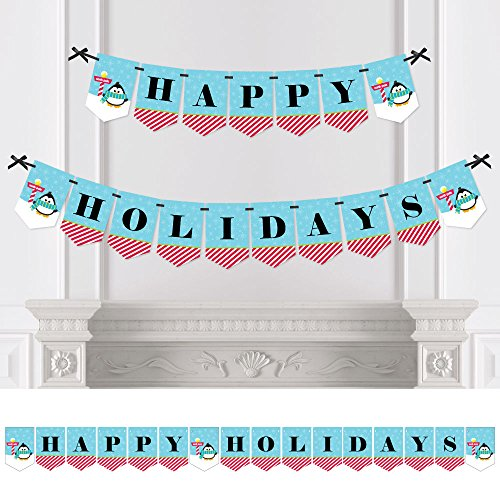 Big Dot of Happiness Holly Jolly Penguin - Holiday & Christmas Bunting Banner - Winter Party Decorations - Happy Holidays (Happy Holidays Banner)