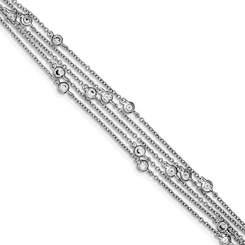 925 Sterling Silver Multi Strand Cubic Zirconia Cz Bracelet 7.5 Inch Chain Multi-str Fine Jewelry Gifts For Women For Her