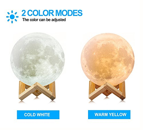3D Printed Moon Lamp LED Baby Night Light Ellishang Table Desk Lamp USB Charging Wooden Base Touch Sensor Control 2-colors Dimmable Switch for Bedroom Birthday Decoration (4.7 inch)