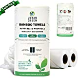 Reusable Bamboo Towels by Urban Green,Large size 2 rolls 60 sheets, Ultra Soft Un paper Towels, Strong Smooth Washable…