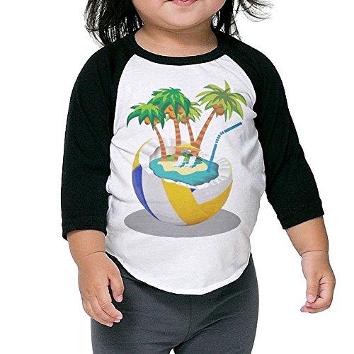 Hanxiaoxiao Children Beach Style Leisure School Black Cute Tee 4 Toddler Crew Neck 1/2 Sleeve Raglan T-Shirt