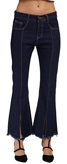 1dc006ae97a95c Plaid&Plain Women's Casual Bell Bottom Crop Fringe Flare Jeans Flared Denim  Jeans ...