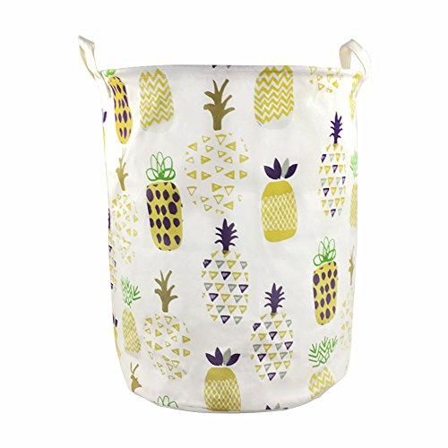 Orino 19 x 16.5 Inches Extra Large Canvas Fabric Folding Storage bin with Handle Waterproof Home Decor Laundry Hamper Organize Pineapple Storage Baskets for Dirty Clothes, Toy (Yellow) ()