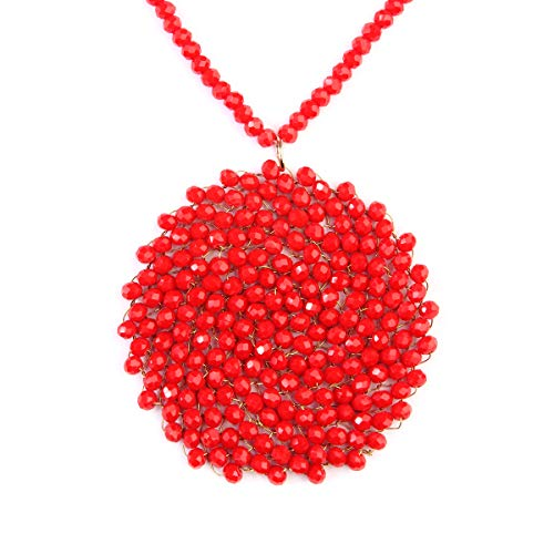 - RIAH FASHION Bohemian Sparkly Braided Bead Disc Pendant Long Necklace - Colorful Bead Wired Round Circle Boho Statement Necklace (Red)
