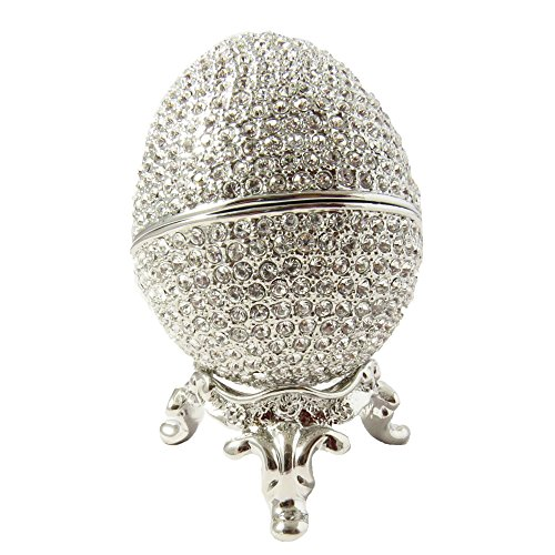 Faberge Style Egg Proposal Wedding Jewelry Ring Holder Box Rhodium Silver Plated made with Swarovski Element Crystal ()