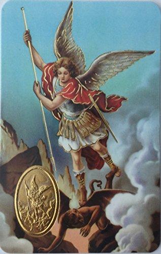 San Miguel Arcángel Oracion y Medalla Tarjeta de Rezo para cartera - St. Michael The Archangel Laminated Wallet Size with Medal, by Mareta (Best Of San Miguel)