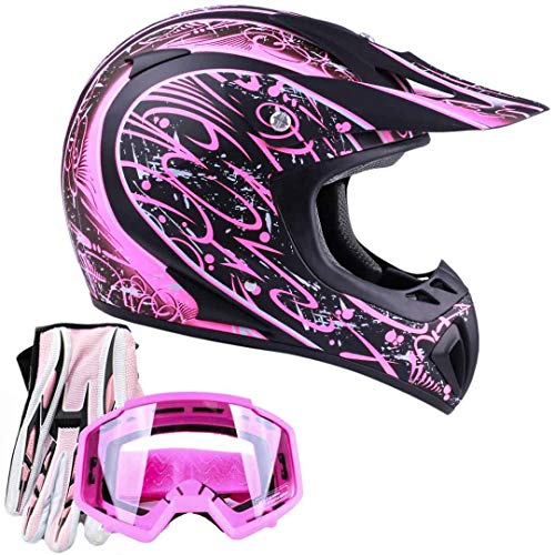 Typhoon Women's Dirt Bike ATV Helmet Motocross Goggles and Gloves Combo - Matte Pink with Pink (Small)