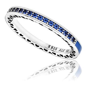 04da39068 Image Unavailable. Image not available for. Color: Pandora Women's Blue  Radiant Hearts of Ring, Size 52 ...